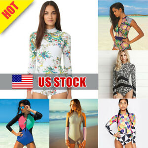 Womens Plus Size Rashguard Turtleneck Zip Front Padded Surfing Swimsuit Boho Floral Stripes Patchwork Short Sleeves Bathing Suit Sports & Entertainment