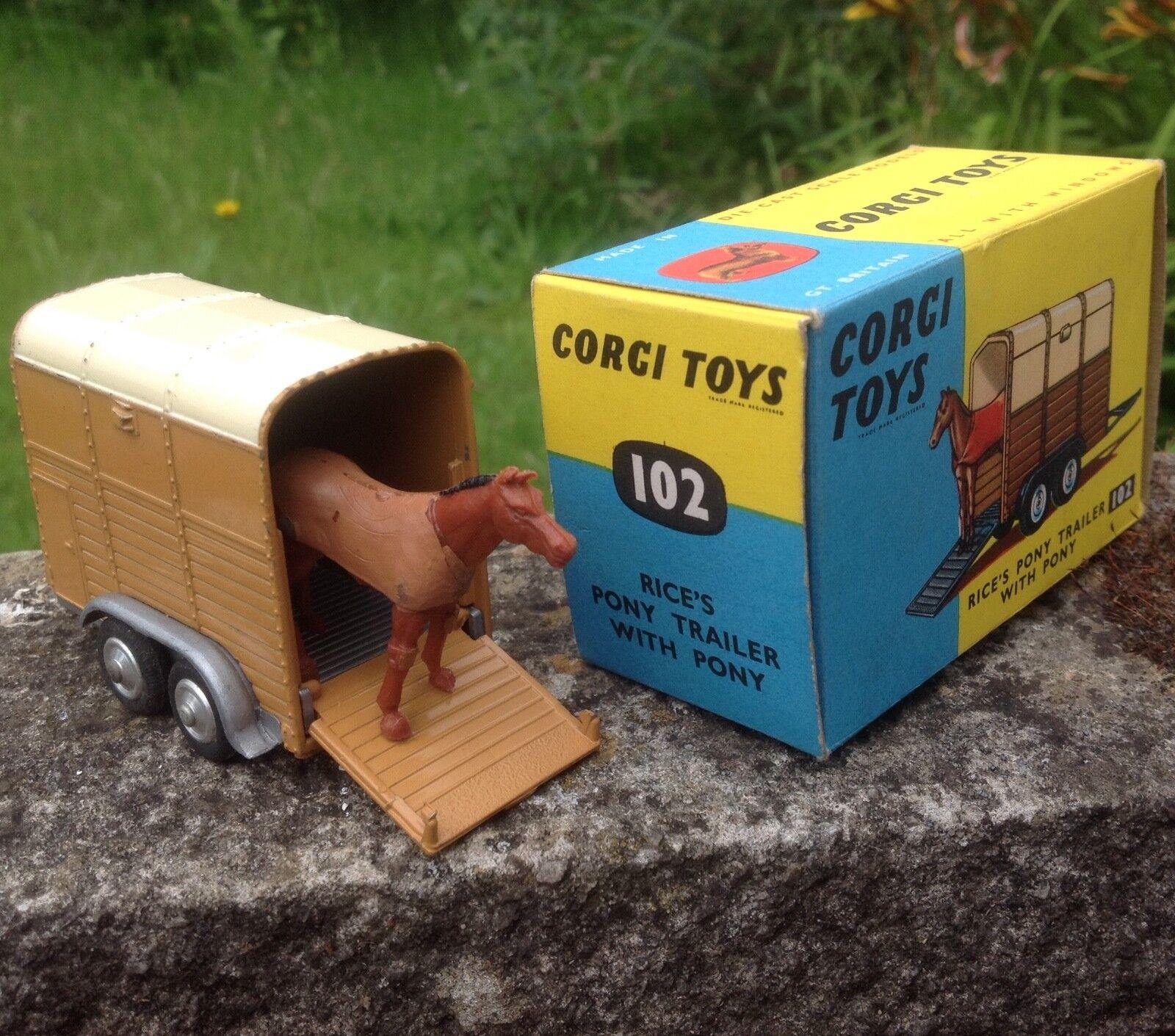 Corgi 102 arroz's Pony Trailer Con Remolque De Menta Pony & magnífico Original Caja De Menta