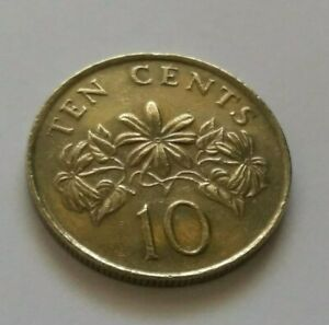 Singapore-2nd-Series-10-Cents-Flowers-Coin-Year-1985-A-FINE-amp-NICE-Coin