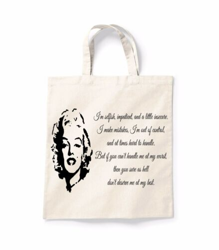 Marilyn Monroe Selfish Face Canvas Tote Shopping Bag Cotton Shopper Bag Gift