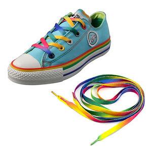 6502e43f16 Details about 1Pair Rainbow Flat Canvas Athletic Shoelace Sport Sneaker  Shoe Laces Strings TV
