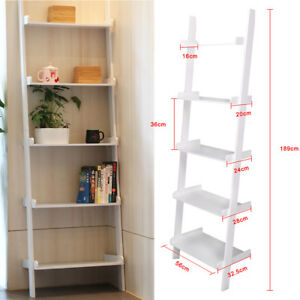 White-Ladder-Shelving-Unit-5-Tier-Display-Stand-Book-Shelf-Wall-Rack-Cupboard