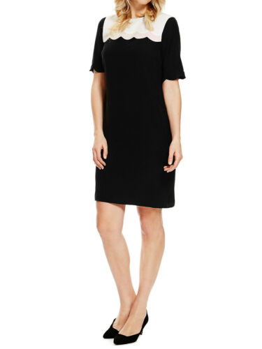 Marks /& Spencer Taille Plus Noir Avec Empiècements À Manches Courtes Shift Robe Original Hôtesse