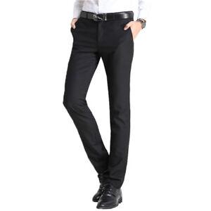 c405c857a0 TM Exposure Men's Flat Front Black Slacks Slim Fit Dress Pants New ...