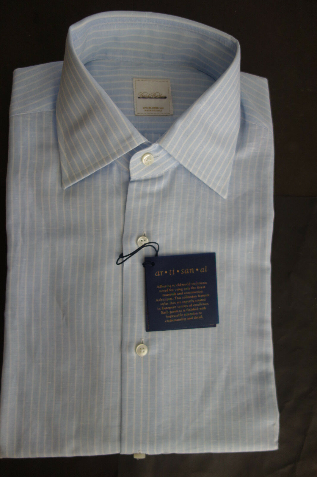 NWT Brooks Bredhers bluee w White Stripe Linen Blend Shirt 15.5-32 33 MSRP