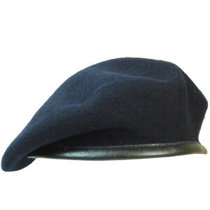 100-Wool-BRITISH-BERET-All-Sizes-NAVY-BLUE-Uniform-Military-Army-Cap-Hat-New