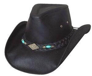 di Royston in pelle da vera in pelle cowboy occidentale Cappello toro Montecarlo nera DHE9I2