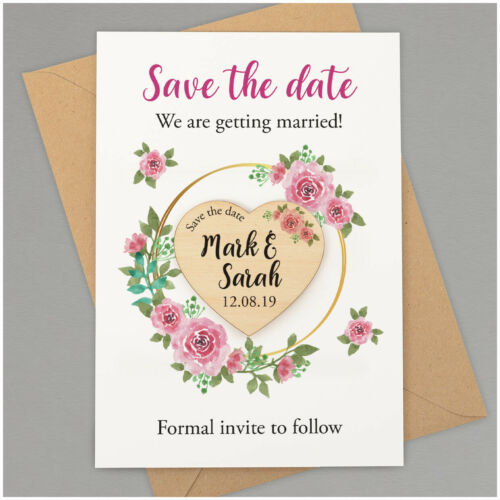 PERSONALISED Save The Date Wooden Heart Magnets Floral Boho Wedding Invitations