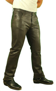 Jeans pelle da Pelle nappa pelle di Marrone pelle in Jeans uomo Lavato vera in In agnello Paul Pantaloni wXHdS44qxT