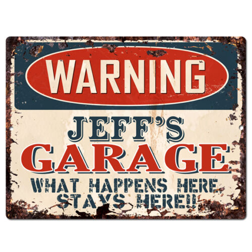 PPFG0120 WARNING JEFF/'S GARAGE Tin Chic Sign Home man cave Decor Funny Gift