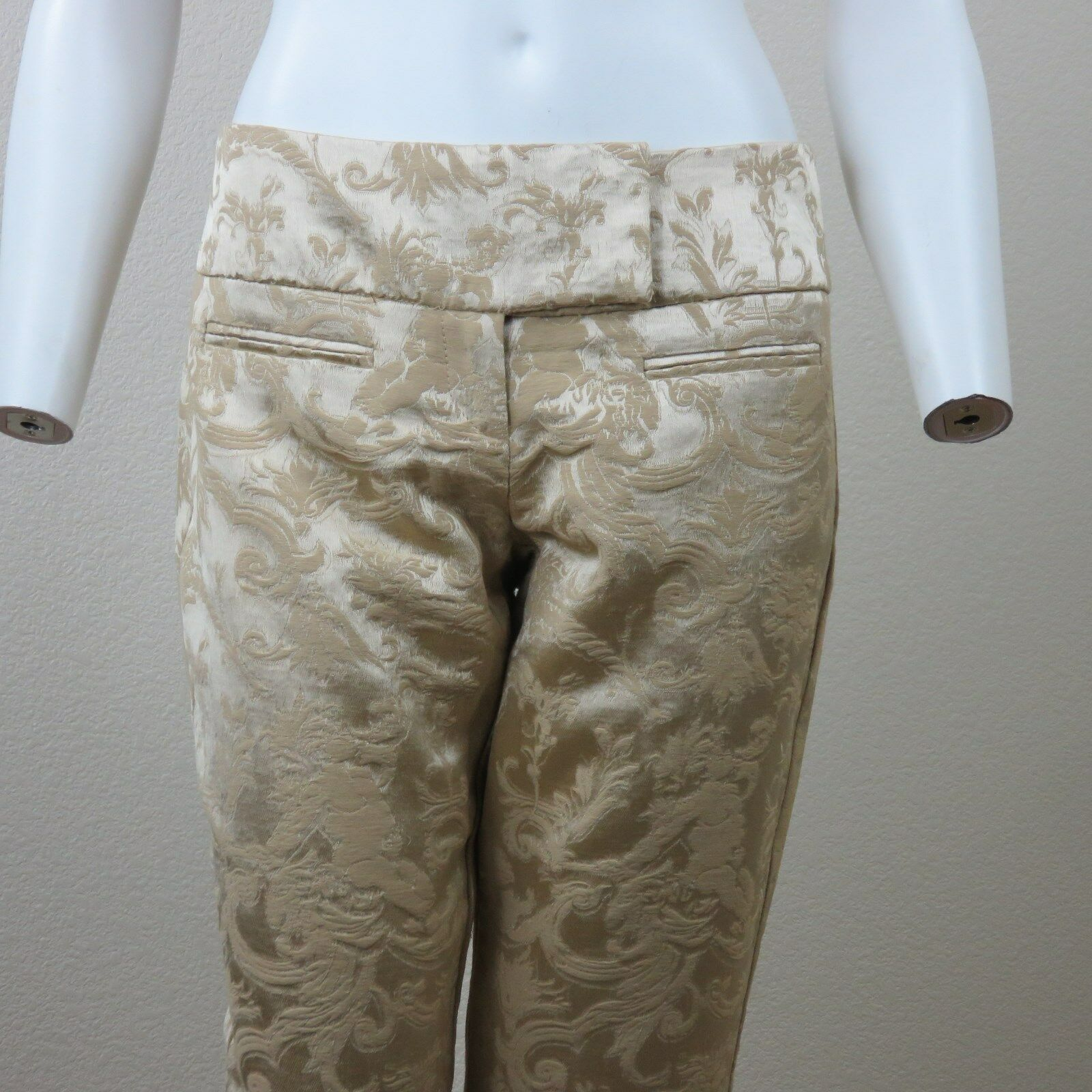 Caché gold Brocade Pants Size 4 Mid Rise Flat Front Boot Cut Made in USA