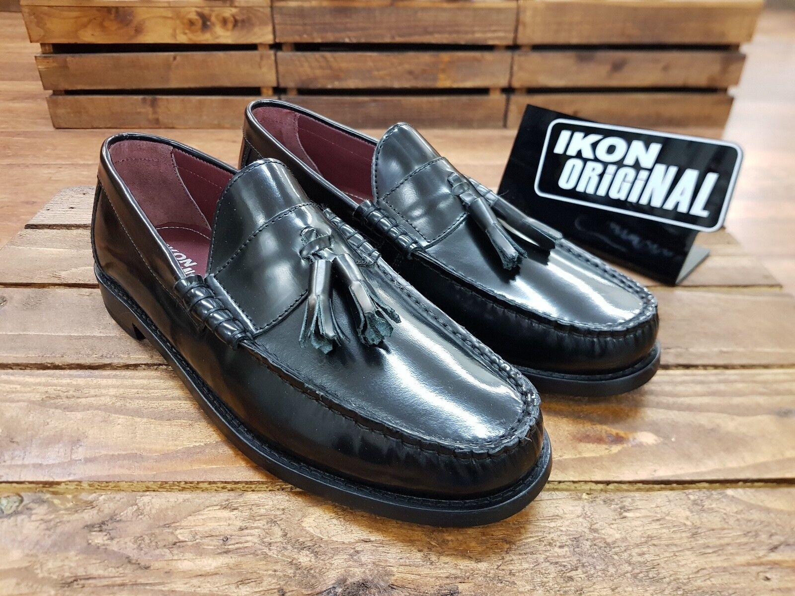 IKON IKON IKON ORIGINALS // Hove //   Herren schwarz tassel penny Loafers Schuhes // NEW d554a1