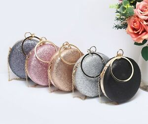 Ladies-Glittery-Sparkle-Clutch-Bag-Womens-Wedding-Party-Hard-Case-Purse-Handbag