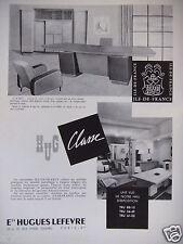 PUBLICITÉ 1959 Ets HUGUES LEFEVRE BIBLIOTHEQUE VESTIAIRE ARMOIRE - ADVERTISING