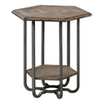 Industrial Wood & Metal Side Table Furniture Primitive Weathered Rustic