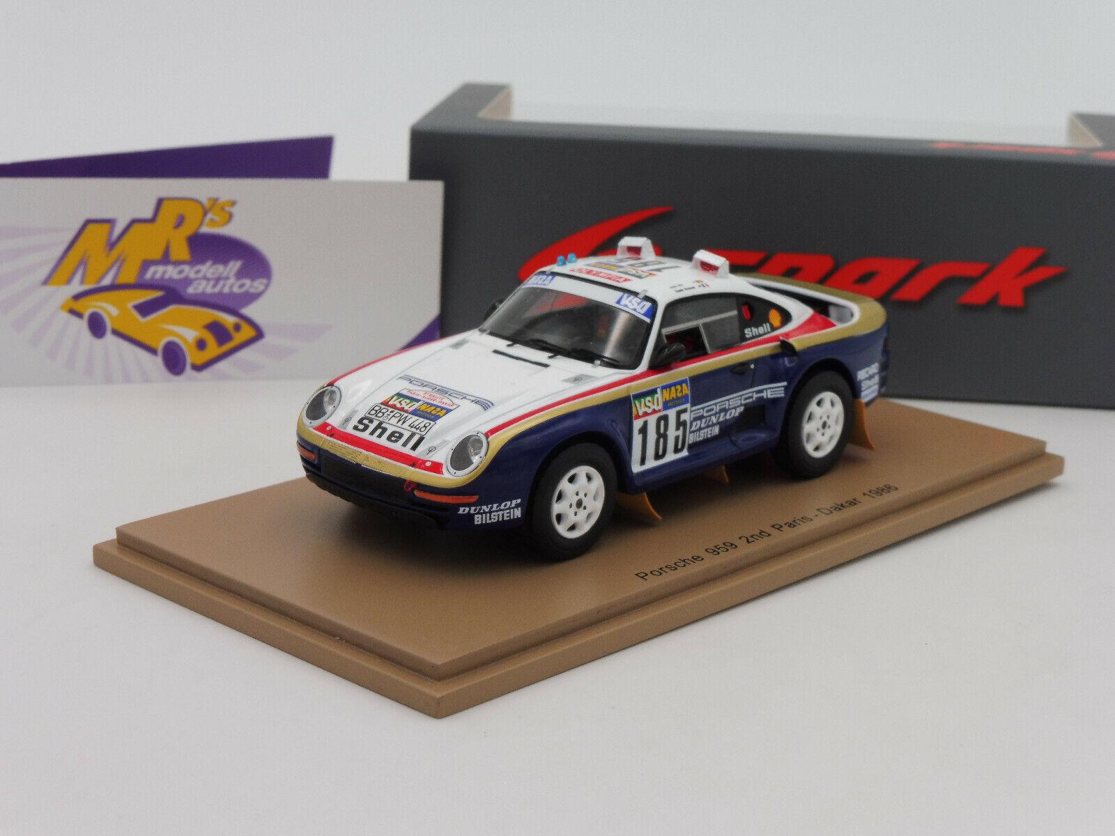 Spark s7814 Porsche 959 nº 185 2nd Place  paris-dakar 1986  1 43 nuevo