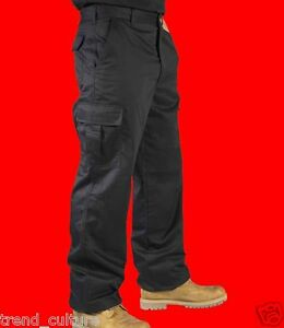 UNISEX-CARGO-COMBAT-WORK-COLLEGE-LEISURE-TROUSERS-BLACK-amp-NAVY-28-034-52-034-WAIST-NEW