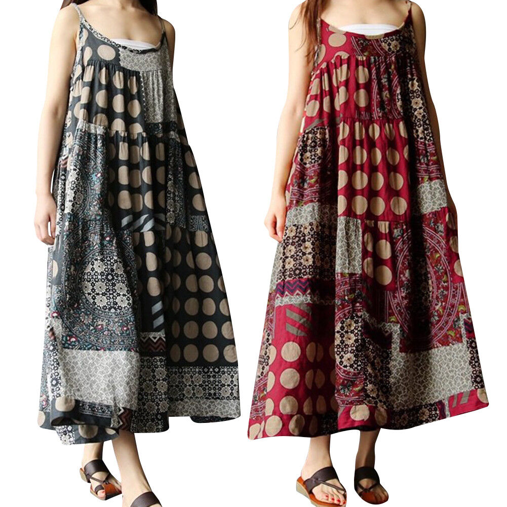 Women Summer Sleeveless Dress Casual Linen Strappy Loose Boho Bohomia Long Skirt