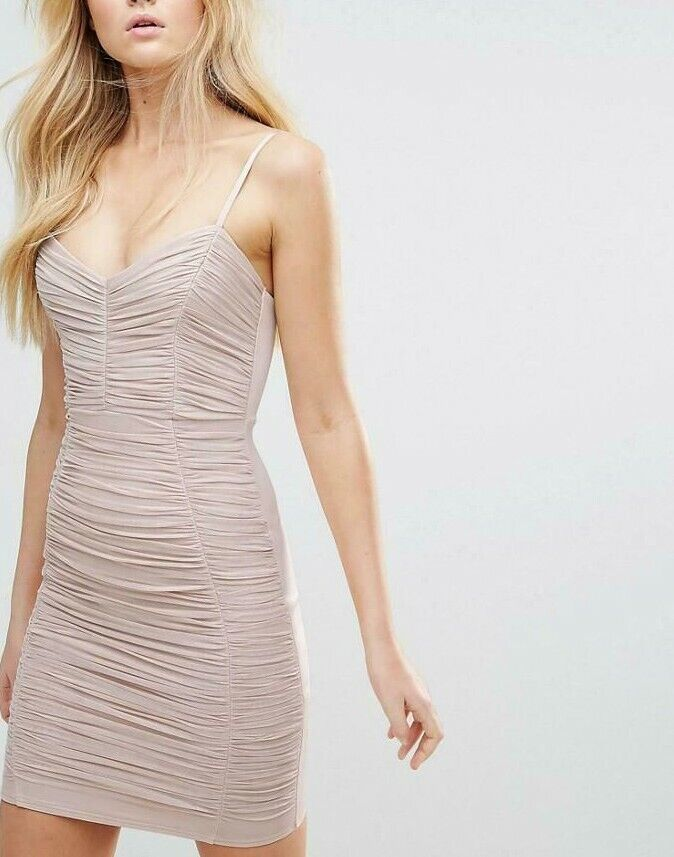 BNWT Lipsy Ruched Shimmer Foil Effect Cami Bodycon Dress UK10RRP