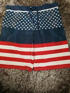 USA Patriotic shorts upcycled refashioned low rise Billabong plaid red white /& blue surfer shorts stretchy comfy skater nerd shorts reworked