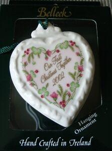 Belleek-Porcelain-China-2002-OUR-FIRST-CHRISTMAS-Heart-Ornament-NIB