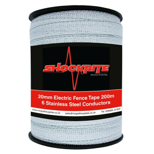 Electric Fence Tape Fencing White 200m x 20mm Horse Paddock