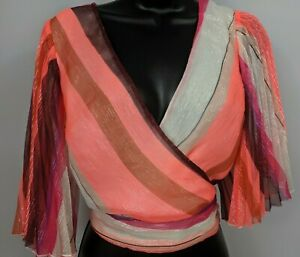 NWT-EXPRESS-Multi-Color-Pink-Shimmer-Short-Sleeve-Cropped-Top-Women-039-s-Size-Small