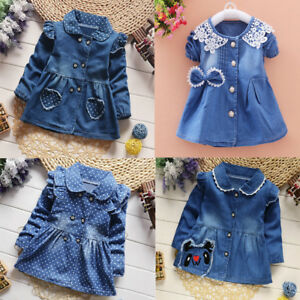 bcacc6fce0 Image is loading Toddler-Baby-Girls-Princess-Party-Dress-Denim-Dress-