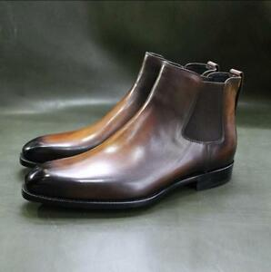 Handmade-Leather-Tan-Patina-Ankle-High-Chelsea-Boots-for-Men-Custom-Men-Boots