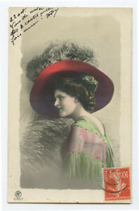 c 1909 Glamour Glamor BIG HAT BEAUTY Lady Young Woman photo postcard