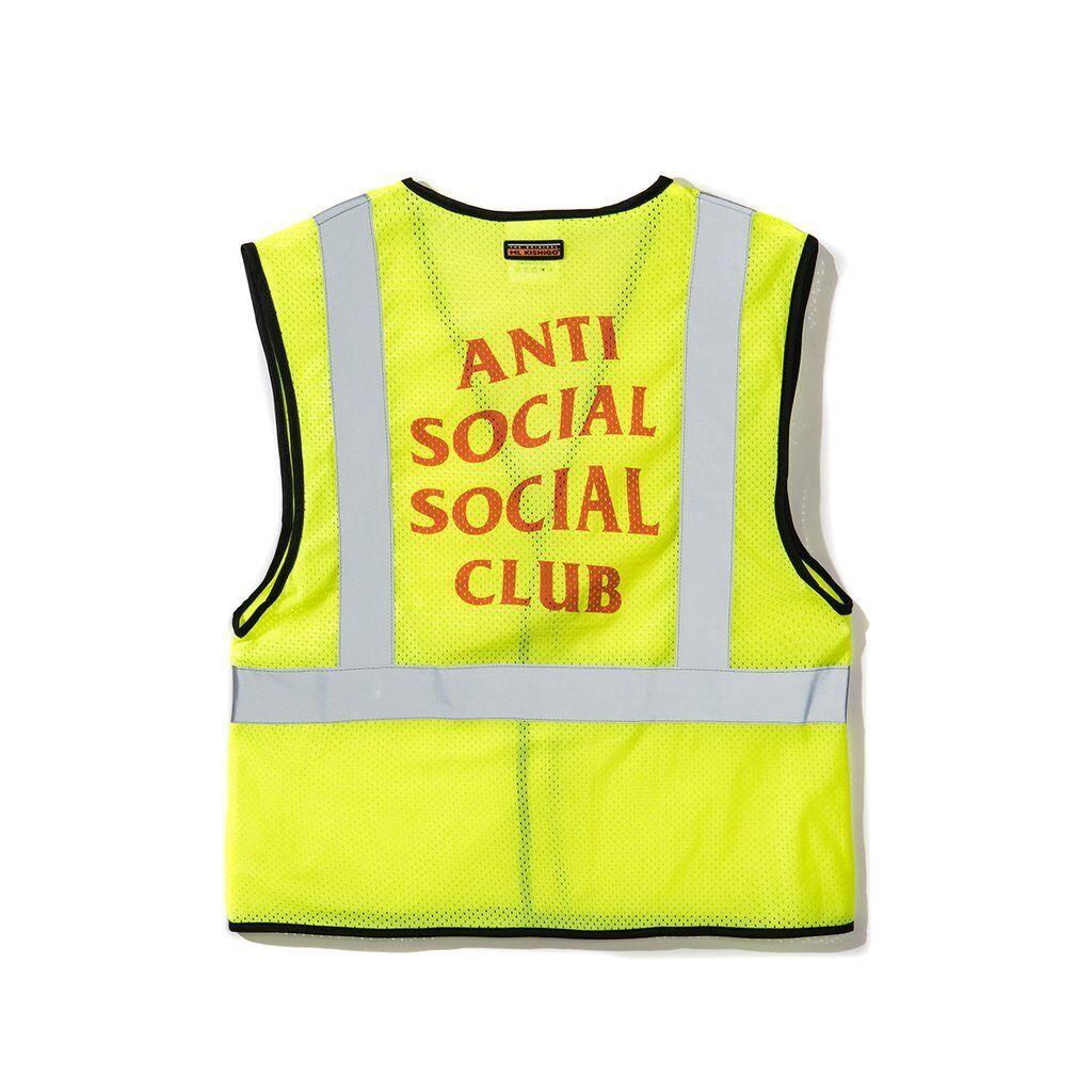 Auth Anti Social Social Club ASSC Gelb Lit Safety Vest S/M small medium bape