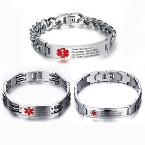 Image Is Loading Free Engraving Anium Steel Emergency Medical Alert Id