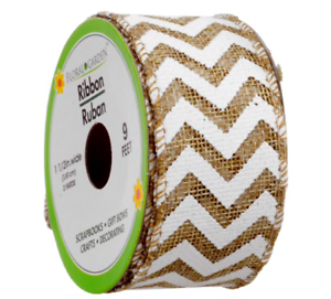 Natural Burlap Wired Ribbon with White Chevron 9 Feet and 1.5 Inches Wide