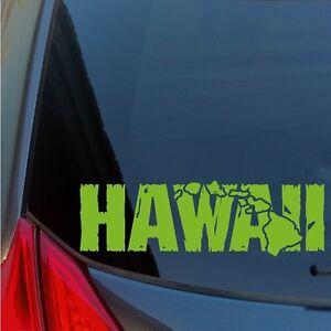Distressed Kauai Hawaiian Islands sticker decal wood tiki Hanalei Poipu Waimea