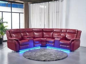 Image Is Loading Casual Red Air Leather 3pc Reclining Sectional