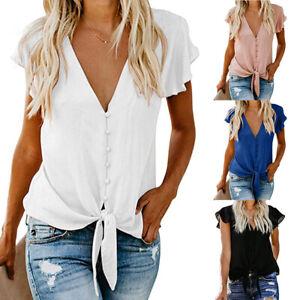 Women-V-Neck-Chiffon-T-Shirt-Tie-Front-Tee-Top-Casual-Short-Sleeve-Blouse-Summer