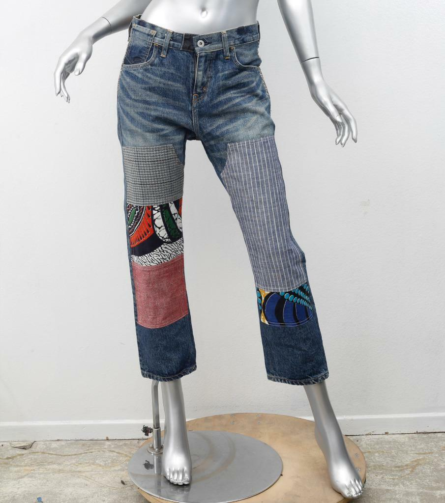 Junya Watanabe Comme Des Garcons Jeans AD2015 Blu Patchwork Jeans Corti S
