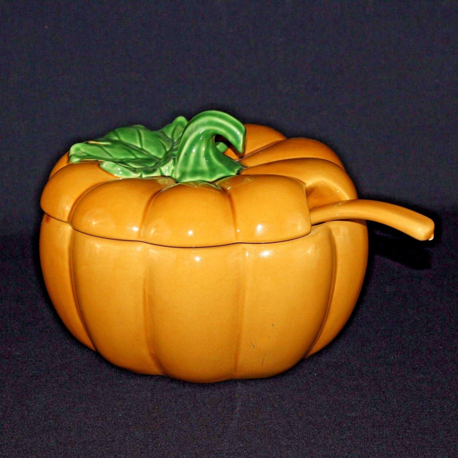 Pier 1 Harvest or Thanksgiving Fall Orange Pumpkin Soup Tureen Ladle 3PC Set