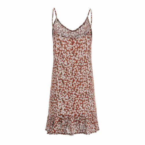 Ladies Women Summer Holiday Mini Slip Dress Casual V-neck Sundress Holiday Beach