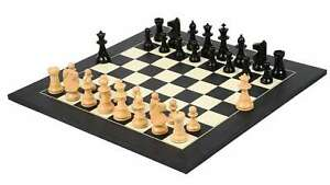 """Combo of Chess Pieces in Ebony & Boxwood - 3.75"""" King with Wooden chess Board"""