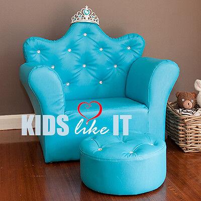 KIDS Girls Frozen ELSA Snowflake CRYSTAL Princess SOFA Chair w/ Foot Stool BLUE