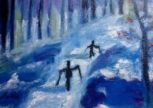 Hinkle-snow-ski-skier-woods-landscape-oil-painting-impressionism-original-art