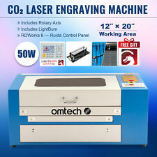 Omtech 50w 20x12 Co2 Laser Engraving Cutter Withlightburn Amp Rotary Axis