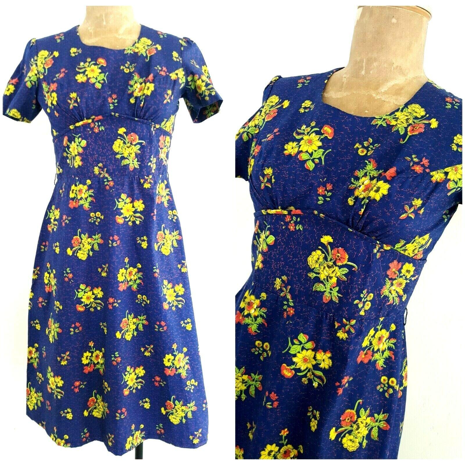 Vintage 60s  Rockabilly Empire Waist Floral Dress Größe Small Pinup Mini GOGO