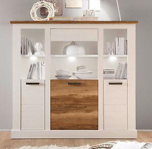 highboard wei pinie nussbaum satin wohnzimmer kommode esszimmer schrank toronto ebay. Black Bedroom Furniture Sets. Home Design Ideas