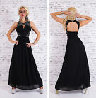 NEW SEXY MAXI COCKTAIL PROM EVENING DRESS WITH STONE DETAIL BLACK SIZ 6 8 10 12