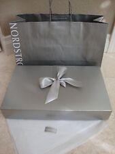 NORDSTROM SILVER PAPER GIFT BOX W/ SHOPPING BAG & RIBBON,TISSUE PAPER 15X9X2.5
