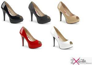 PLEASER-CHLOE-01-13-5cm-Tacon-Alto-Plataforma-Zapatos-De-Punta-Abierta