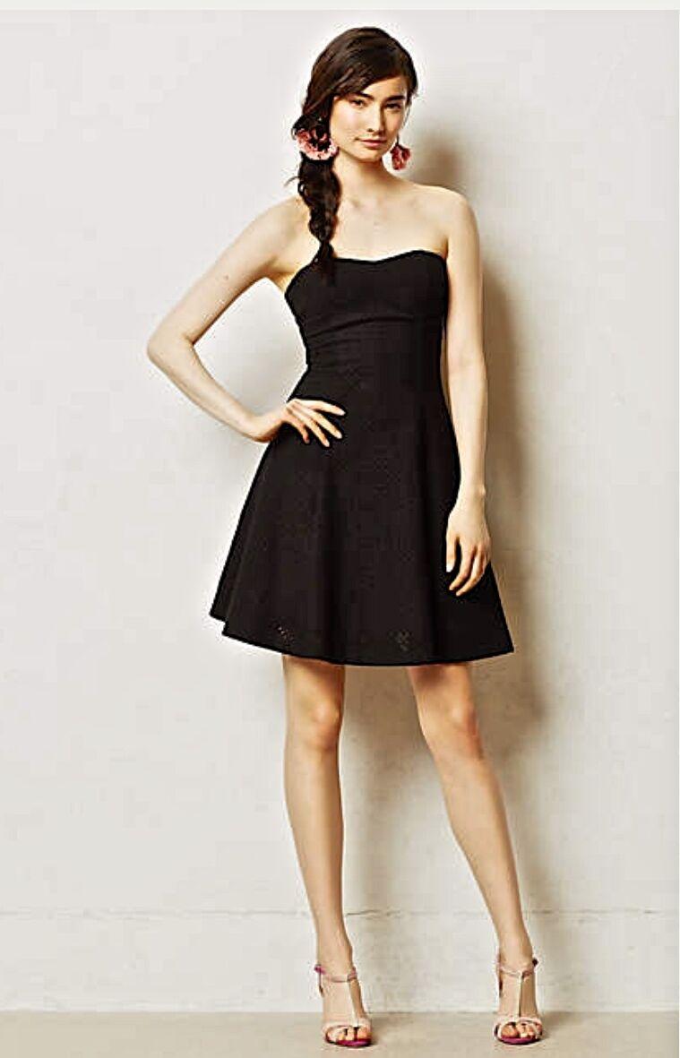 NEW Anthropologie schwarz Minuit Eyelet Fit & Flare Strapless Dress XS