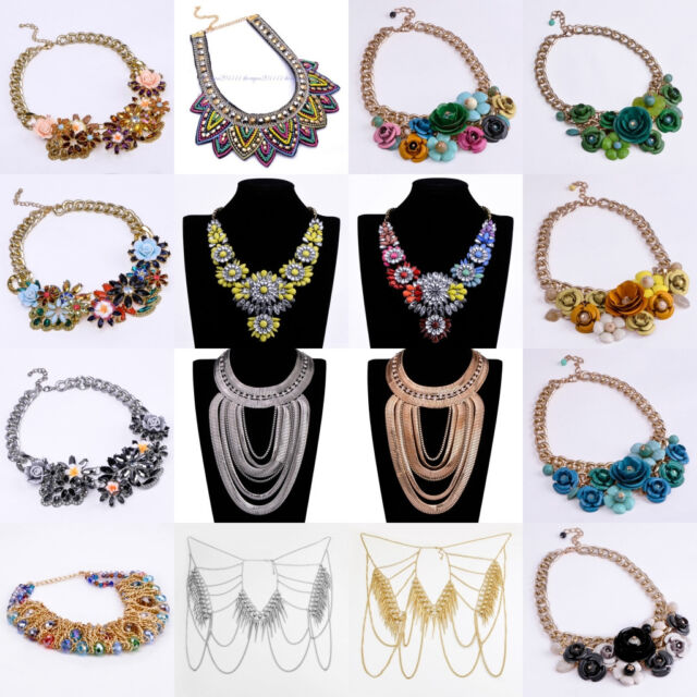 New Fashion Jewellery Vintage Mixed Chunky Choker Bib Pendant Statement Necklace
